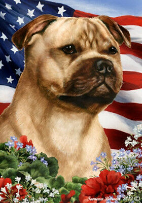 Large Indoor/Outdoor Patriotic I Flag - Fawn Staffordshire Bull Terrier 16245