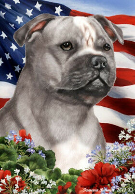 Large Indoor/Outdoor Patriotic I Flag - Grey Staffordshire Bull Terrier 16248