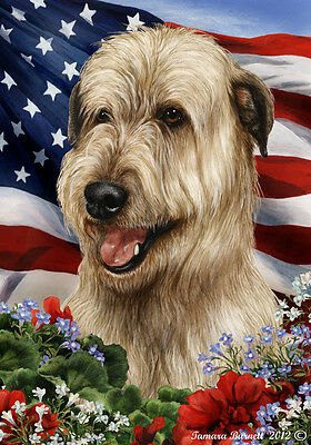 Large Indoor/Outdoor Patriotic I Flag - Fawn Irish Wolfhound 16330
