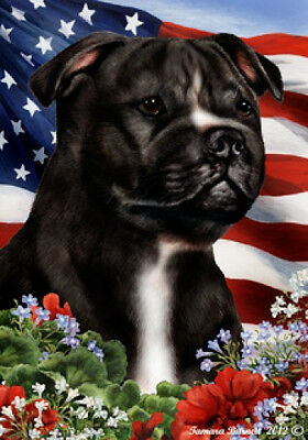 Large Indoor/Outdoor Patriotic I Flag - B/W Staffordshire Bull Terrier 16231