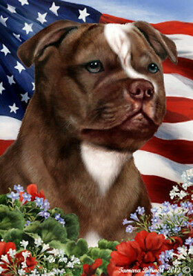 Large Indoor/Outdoor Patriotic I Flag - Choc. Staffordshire Bull Terrier 16244