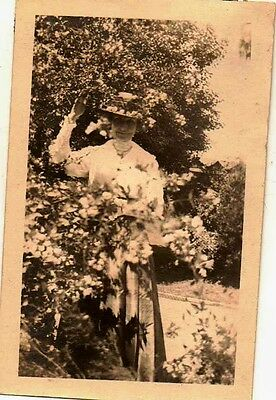 Old Vintage Antique Photograph Woman Standing In The Bushes Great Hat