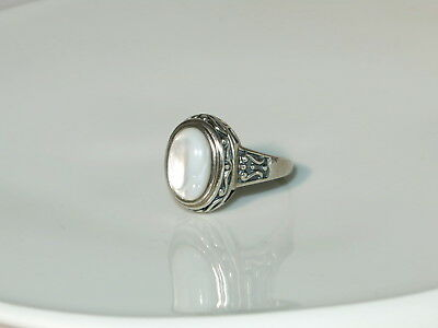 alter echter 925 Sterling Silber Ring Perlmutt-Cabochon Schmuck Relief jewelry