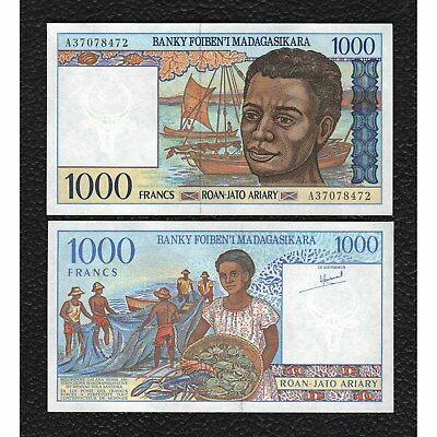 Madagascar P-76 ND(1994) 1000 Francs -Almost Uncirculated