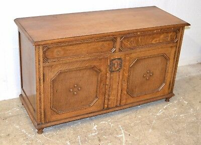 Vintage/ Antique Oak? Carved Blanket Box/Storage Chest - 2844