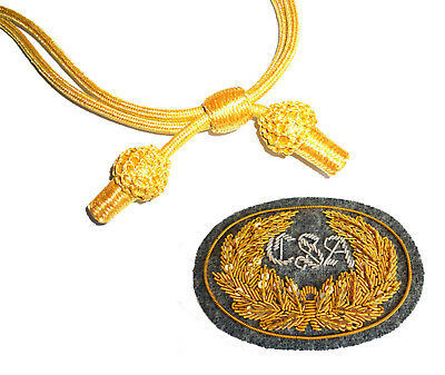 American Civil War Confederate CSA Officers Grey Badge & Gold Slouch Hat Cord