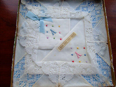 Three Vintage Ladies White Cotton/Lace Hand Embroidered Handkerchiefs 'A' UNUSED