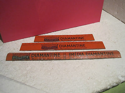 "LOT DE TROIS REGLES  EN TOLE ORANGE PUBLICITAIRE ""DIAMANTINE""voir photos"