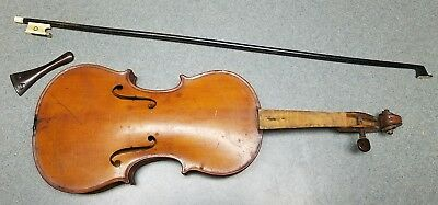 Antique Vuillaume a Paris French 3/4 Violin Body with Bone Bow & Tailpiece NICE
