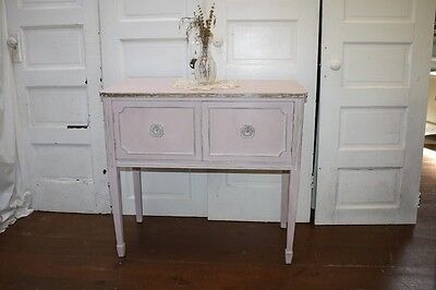 Antique Sideboard Server Buffet Painted Light Pink Gold Distressed Petite