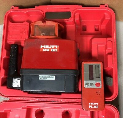 Hilti Pr 60 Rotating Rotary Laser Level 600 Rpm + Pa350 Laser Receiver