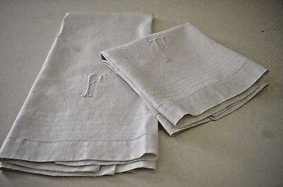 Pair Of Very Fine Vintage Large Linen Damask Huck Towels F Mono  Tt338