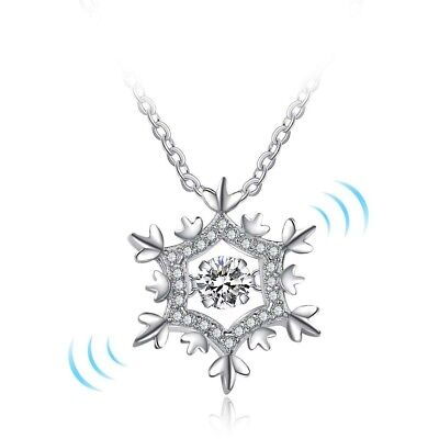 """925 Sterling Silver 0.69 Carat CZ """"Dancing Stone"""" Snowflake Pendant and Necklace"""