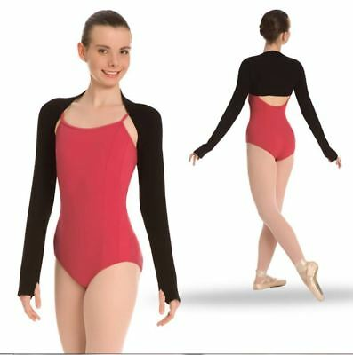 NWT BODY WRAPPERS Dance Ballet Black Shrug Size Tall w/ Thumbholes P940 rayon
