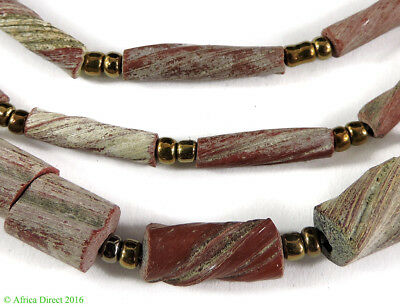 Ancient Roman Glass Fragment Beads Red Afghanistan