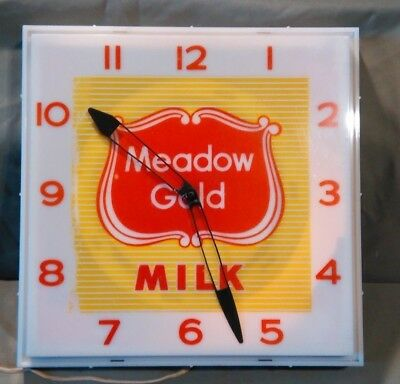 Vintage 50s 60s Meadow Gold Milk Lighted Countryman Advertising Clock Works