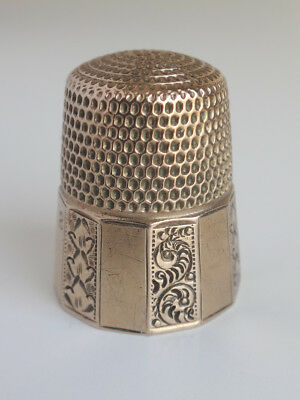 Antique 19thC Victorian 10k Yellow Gold Hand Engraved Sewing THIMBLE Sz 8-EX!