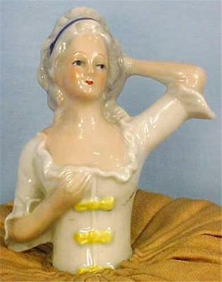Colonial Lady Porcelain Half Doll Pin Cushion Vintage Vanity Accessory