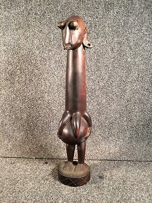 Wooden African Fertility Wooden Carved Female Sculpture - authentic primitive