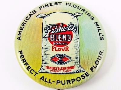 Antique Fisher's Blend Brand Flour Advertising Celluloid Pin Pinback Button