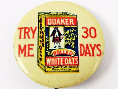 Antique Quaker Rolled White Oats Advertising Celluloid Pin Pinback Button