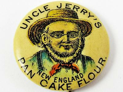 Antique Uncle Jerry's Pan Cake Flour Advertising Celluloid Pin Pinback Button