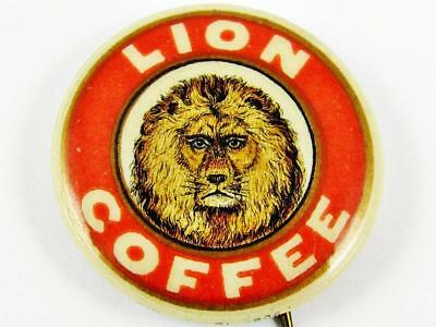 Vintage Lion Coffee Woolson Spice Co. Advertising Celluloid Pin Button 1