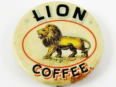 Vintage Lion Coffee Woolson Spice Co. Advertising Celluloid Pin Button 2