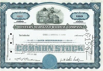 The Western Maryland Railway Company Stock Certificate 1956 Md & Pa
