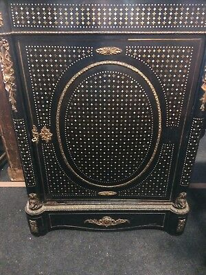 Antique 19thC Ebonised Rosewood Brass & Mother of Pearl Inlay Pier Cabinet