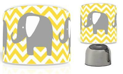 "Chevron Elephant Nursery Ceiling Light Shade 11"" + Bedside Touch Lamp  Free P&p"