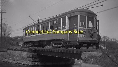Connecticut Company Original B&w Trolley Negative Car 1917 In New Haven In 1945