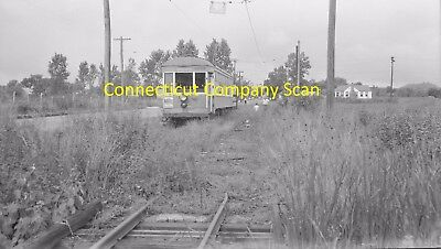 Connecticut Company Original B&w Trolley Negative Car 1917 Near Lighthouse