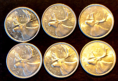 Lot of 6 UNC Canadian Silver 25 Cent Coins