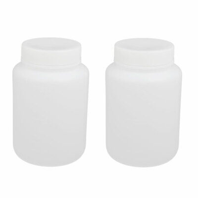 500ml 55mm Dia Wide Mouth HDPE Plastic Round Graduated Bottle White 2pcs