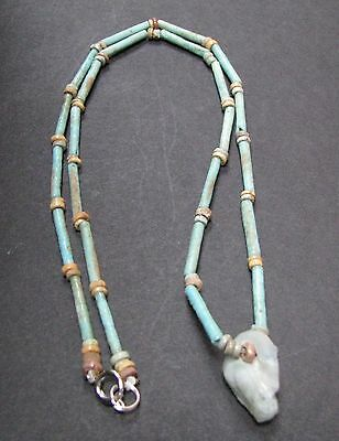 NILE  Ancient Egyptian Goose Amulet Mummy Bead Necklace ca 1000 BC