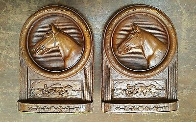 Vintage Chariot Horse Racing Equestrian Bookends Kentucky Derby Decor