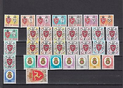 a102 - ISLE OF MAN - SGD1-D25 MNH 1973-92 POSTAGE DUES SETS - COMPLETE