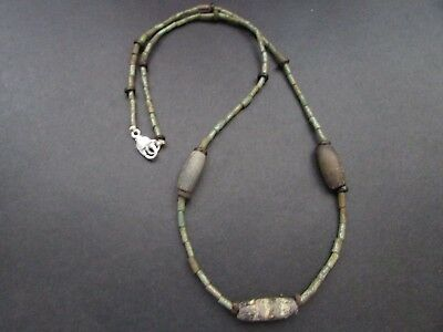 NILE  Ancient Egyptian Faience Amulet Mosaic Mummy Bead Necklace ca 1000 BC