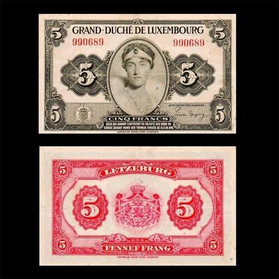 1944 Luxembourg French France, 5 Francs - » Cv $60 «