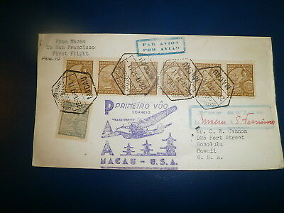 Macao, 1937 First Flight Cover To Us W/scott# 284, Strip Of 6, 273