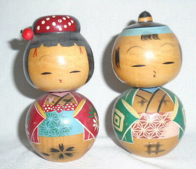 Vintage Pair Turned Wood Japanese Nodder Bobble Kokeshi Geisha Man Woman Dolls B