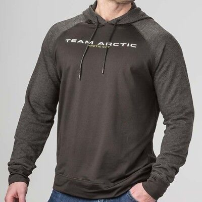 Arctic Cat Men's Team Surge Slim Fit Terry Sleeves Hoodie - Gray Black 5283-53_