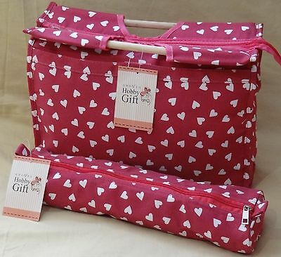 Knitting Bag  Sewing Bag with Matching Needle Holder 100% Cotton Raspberry Heart