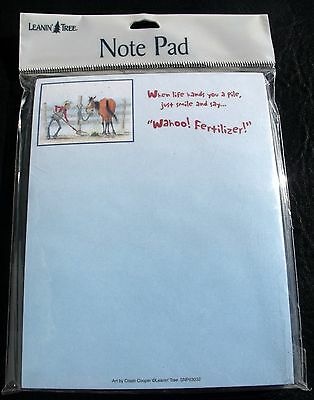 LEANIN' TREE Small Note Pad Humorous Cowboy Shoveling For Horse Wahoo Fertilizer