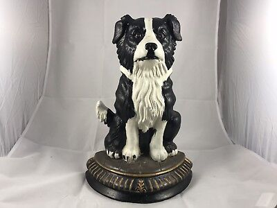 Border Collie Black & White Dog Cast Iron Doorstop or Bookend by Upper Deck