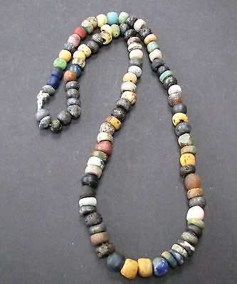 NILE  Ancient Egyptian Glass Amulet Mummy Bead Necklace ca 300 BC
