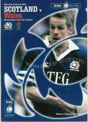 SCOTLAND v WALES 2003 RUGBY PROGRAMME 8 Mar at MURRAYFIELD