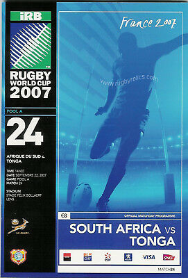 SOUTH AFRICA v TONGA RUGBY WORLD CUP 2007 PROGRAMME - MATCH No 24
