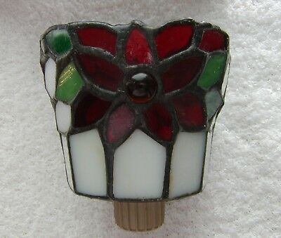 Partylite ~ Christmas Candle Peg Light ~ Poinsettia Stained Glass ~ Awesome!